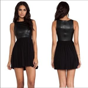 Bailey 44 Black Cocktail Dress with Leather Detail